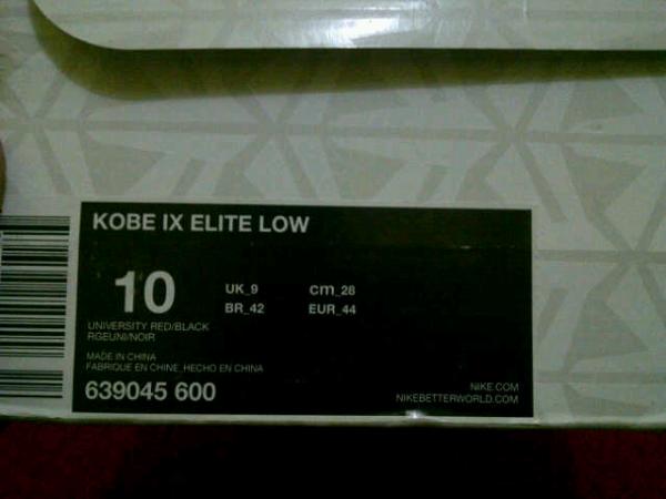 FS original nike kobe 9 elite low university red size 10 murah...lebron,kd,jordan