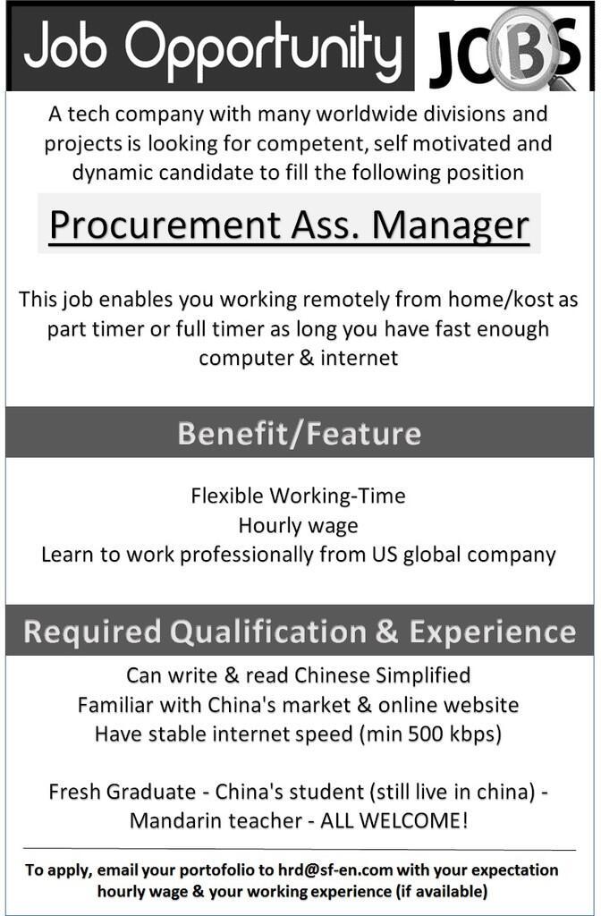 Dibutuhkan Chinese/Mandarin Professional utk perusahaan asing (penghasilan up to 4jt)