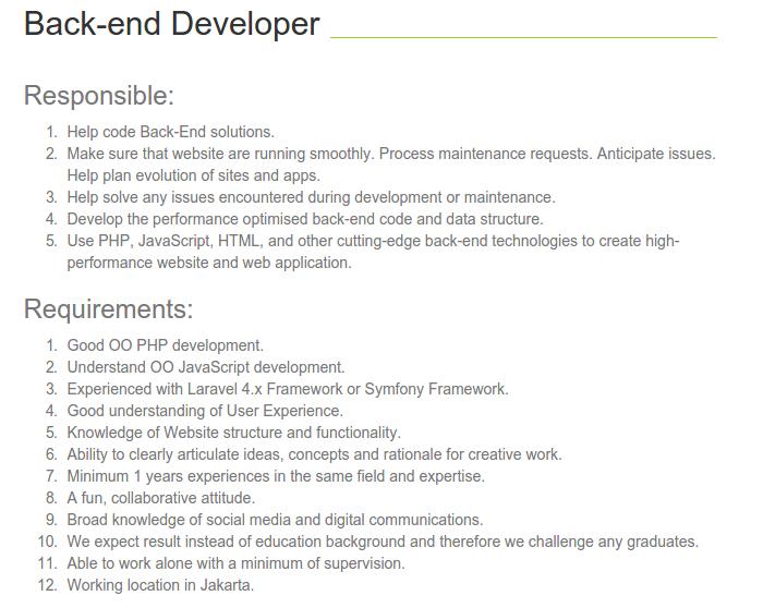 Lowongan Back-end Programmer di Revasi.com