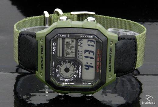 Casio Ae-1200WHB Ori Jam Tangan Dengan Tali Kanvas Army Murah