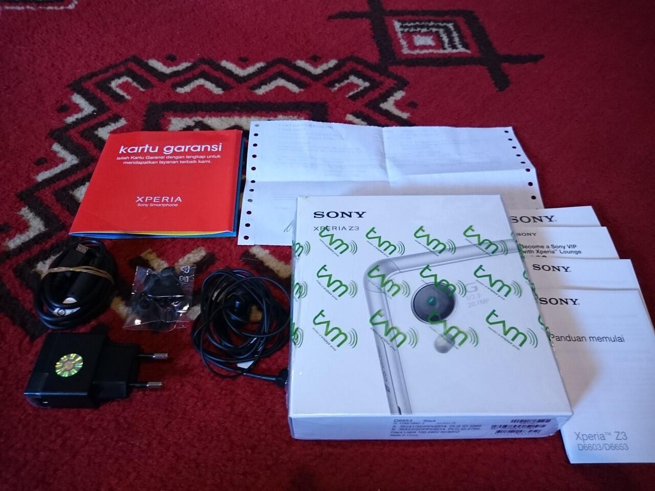 Sony Xperia Z3 Black Fullset Like New Garansi Sony Indonesia Januari 2016