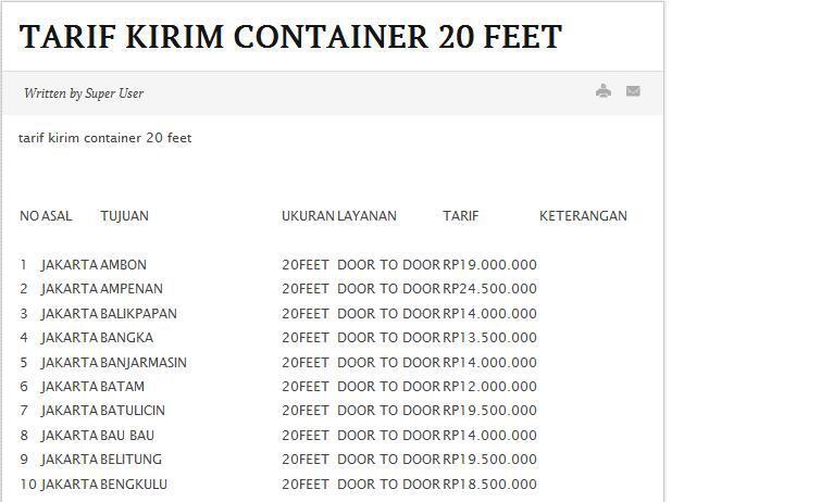 Jasa kirim kontainer murah 20 feet dan 40 feet