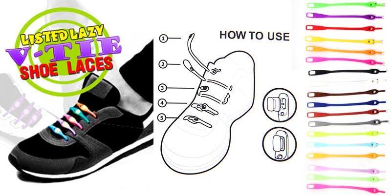 V-tie Shoelaces - Tali sepatu silikon silicone - tali sepatu praktis clip on 219256826d