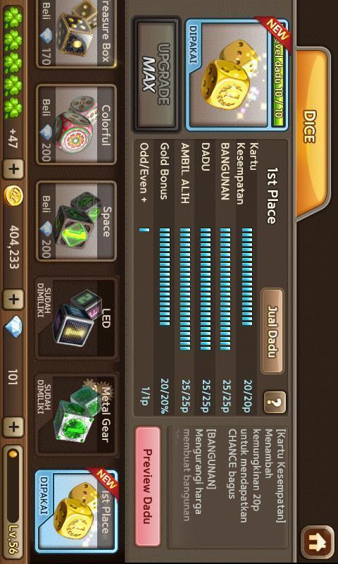 dijual char get rich siap perang level 56