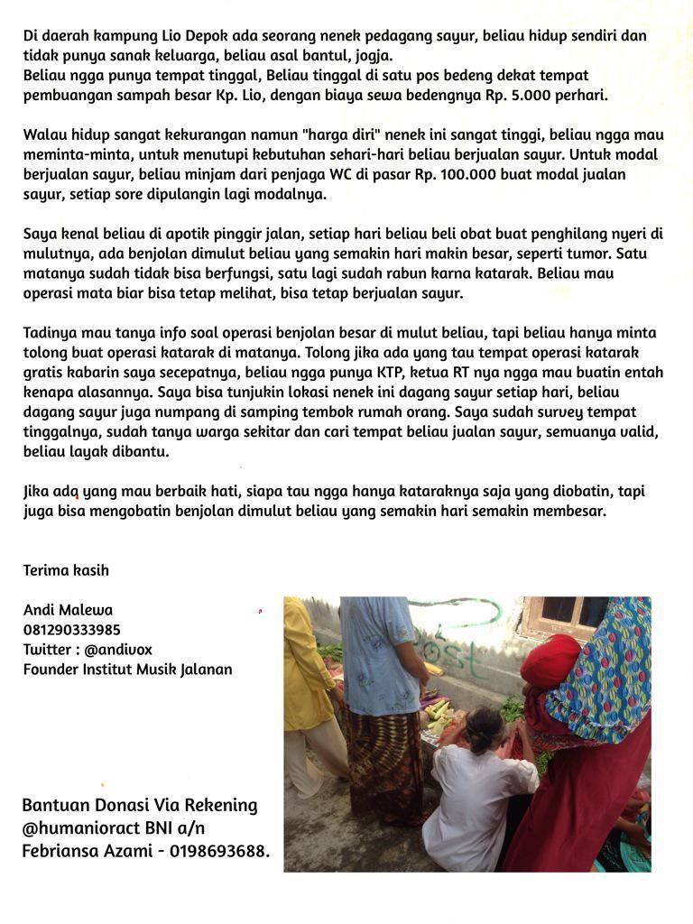 Mohon Bantuan Donasi untuk Nenek Penjual Sayur di Kampung LIO DEPOK