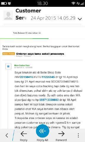 Online Shop Penipu di Tokopedia atas nama Belle Shop Solo