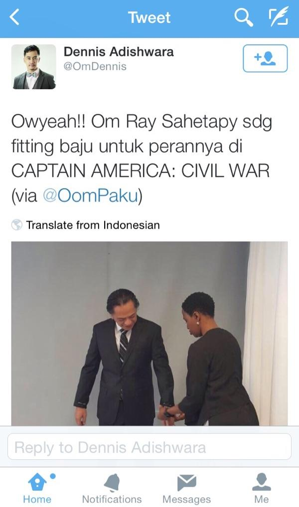 "Wow!!! Ray Sahetapy Main di Film ""Captain America: Civil War""!"
