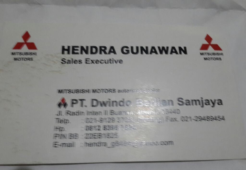 PENIPU BERNAMA HENDRA GUNAWAN, SALES MITSUBISHI RADIN INTEN