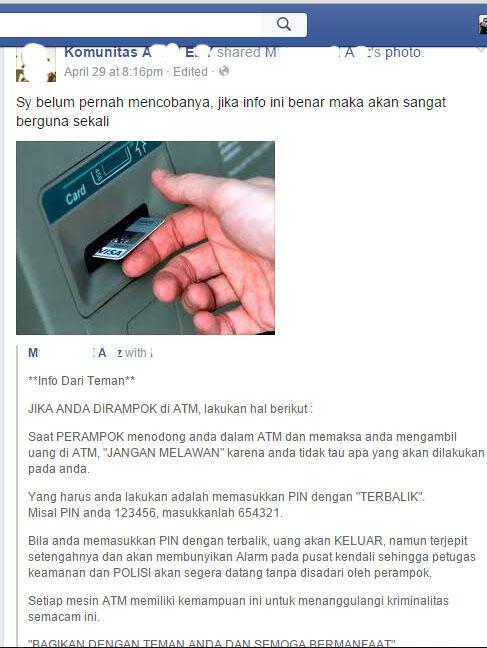 Hoax, Dirampok di ATM Lalu Masukkan PIN Terbalik, Alarm Security Akan Bunyi!!
