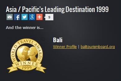 Penghargaan ini pernah diterima pulau BALI gan!!!