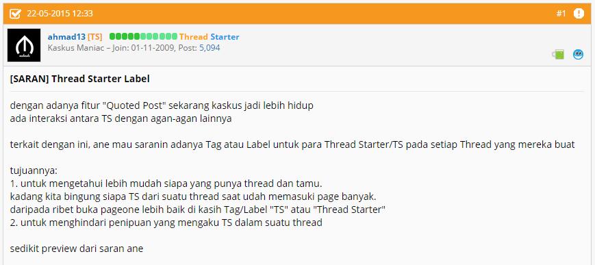 "[INFO] ada ""TS"" atau ""Thread Starter"" Tag untuk Kaskuser loh!"