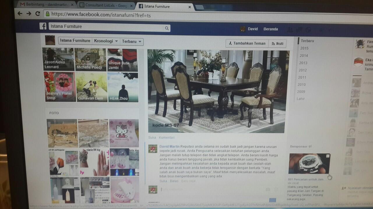 Surat Terbuka untuk Istana Furniture (Seller Facebook - Data tertera dibawah)