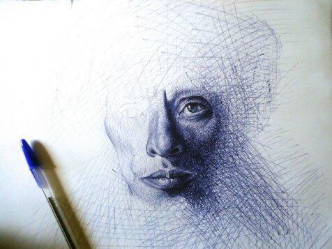Mirip potret asli, gambar ini cuma dibuat pakai bolpoin