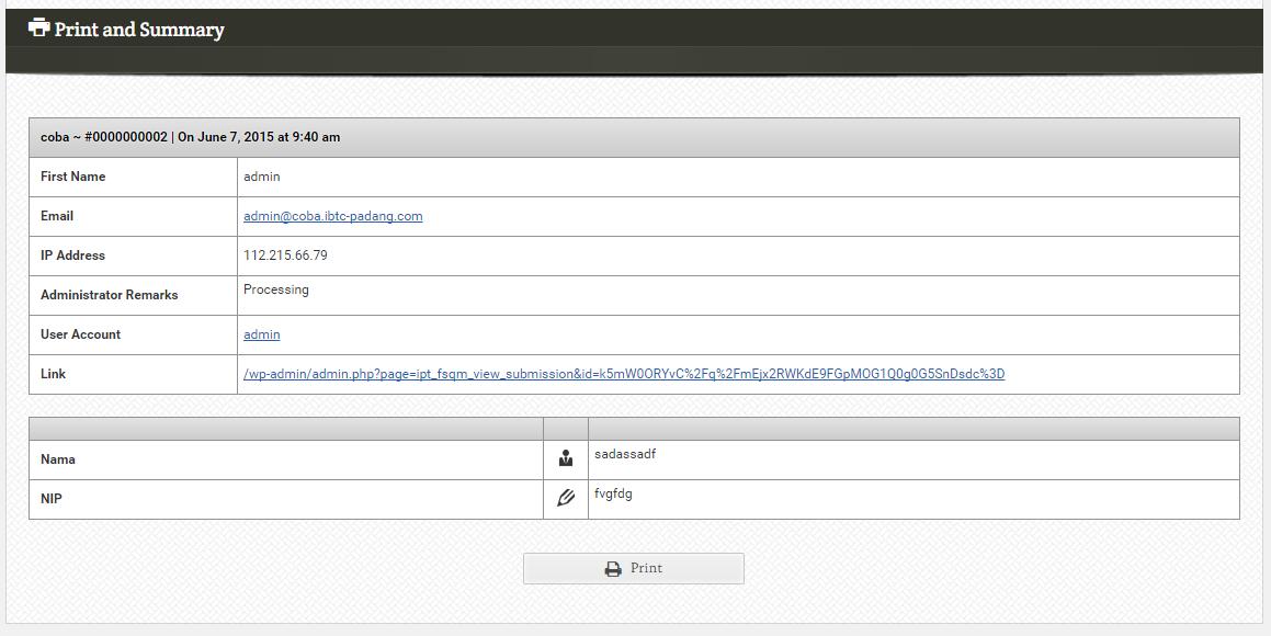 Editing submission table FSQM Pro. Plugin form builder pada wordpress