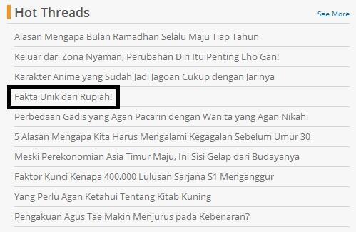 Fakta unik lainnya tentang Rupiah