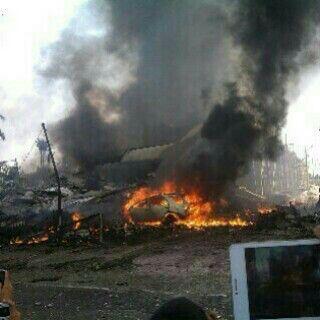 BREAKING NEWS Pesawat Hercules yang Jatuh di Medan Mengenai Rumah Warga