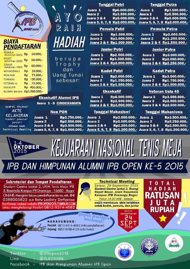 Kejuaraan nasional tenismeja IPB dan Himpunan Alumni IPB open 5 2015