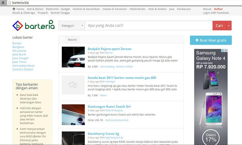 WEB - www.barteria.biz - Tempat Barter Online, bisa hibah barang juga