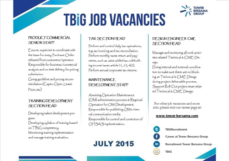Job Vacancy Tower Bersama Group