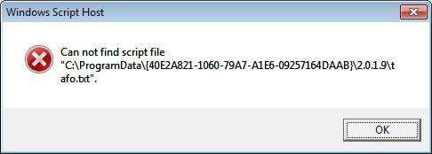 "[WTA] Windows Script Host: Can not find script file ""C:\ProgramData\{40E2A821-1060..."