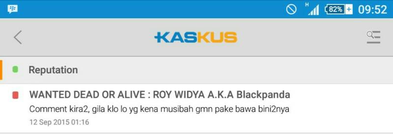 WANTED DEAD OR ALIVE : ROY WIDYA A.K.A Blackpanda
