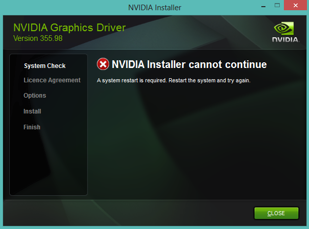 [HELP] Update Nvidia Version 355.98 - Nvidia Installer Cant Continue