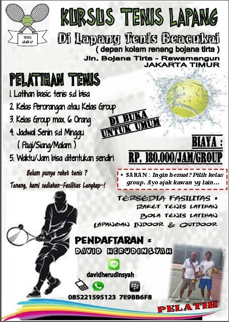 Kursus Tenis Lapangan di Lapang Tenis Beacukai, Rawamangun - Jakarta Timur