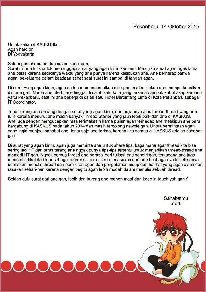 Balasan Dari Surat Balasan Untuk Sahabat Di Yogyakarta Kaskus