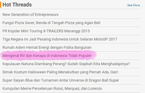 ayo mengenal RV dan kenapa di indonesia tidak populer?