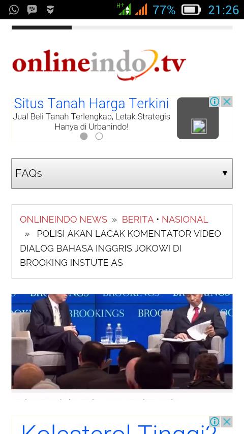 Polisi Akan Lacak Komentator Video Bahasa Inggris Jokowi di Brooking Instute AS