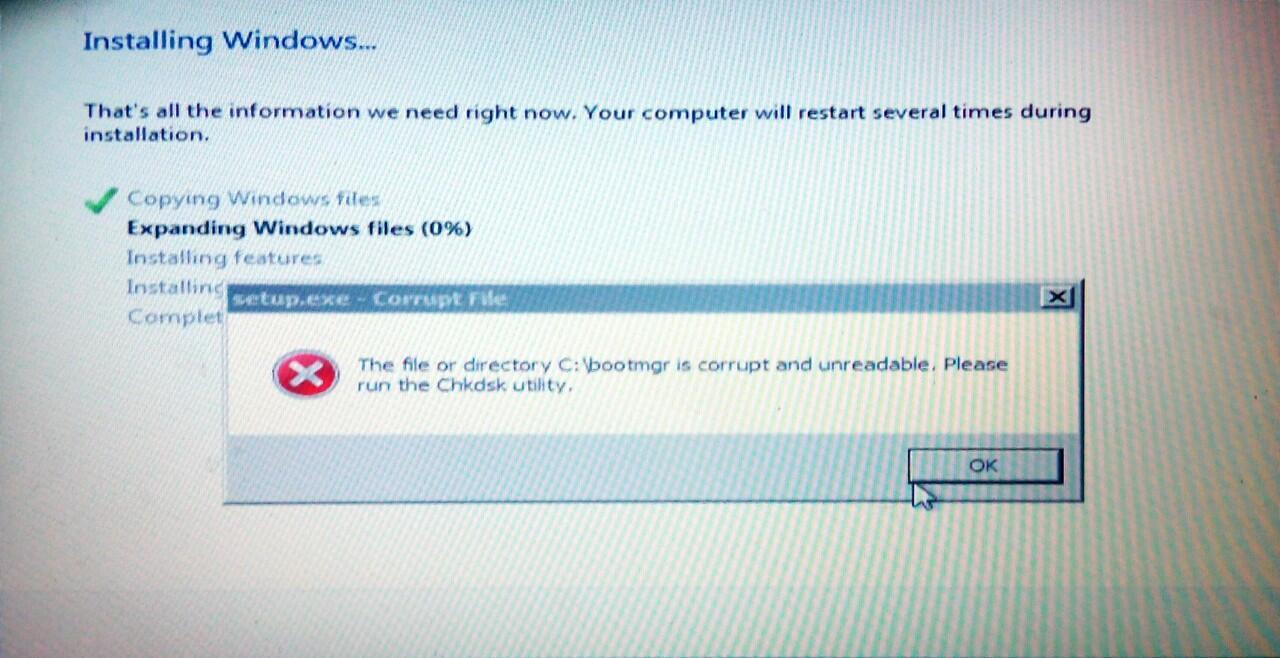 [ask] mengatasi bootmgr is corrupt and unreadable saat install ulang windows 7