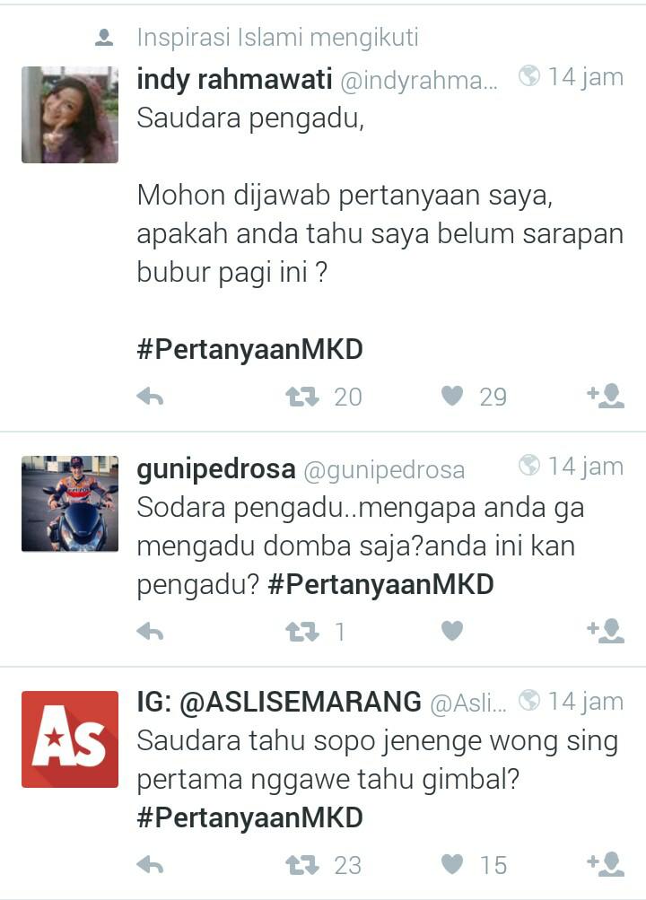 [Ngakak Gan] Pertanyaan MKD bikin heboh Twitter