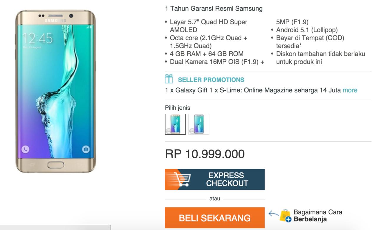 Samsung Galaxy S6 Edge Gold 32gb Kaskus Garansi Resmi