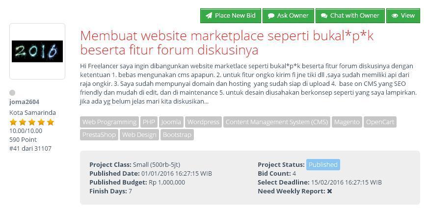 [FREELANCE] Buat web marketplace seperti bukal*p*k dan fitur forum diskusinya