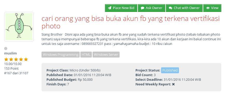 [FREELANCE] Cari yang bisa buka akun facebook yang terkena vertifikasi photo