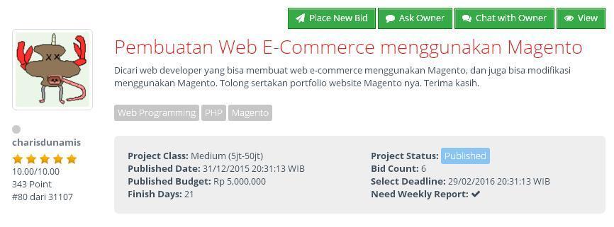 [FREELANCE] Pembuatan Web E-Commerce menggunakan Magento (budget Rp 5jt)