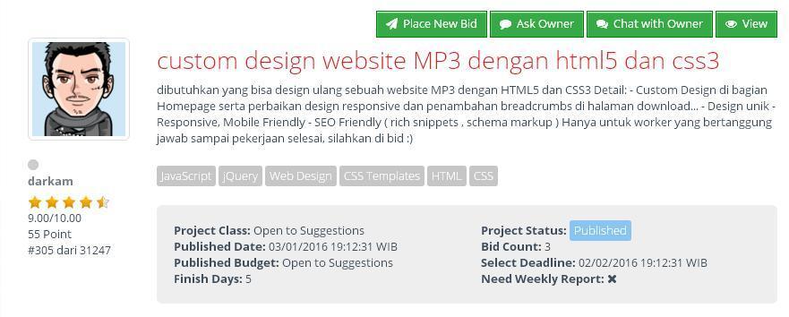 [FREELANCER] Custom design website MP3 dengan html5 dan css3