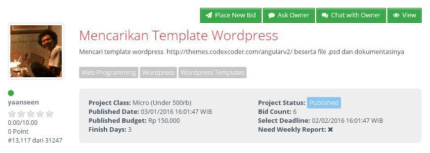 [LOWONGAN FREELANCE] Mencarikan Template Wordpress