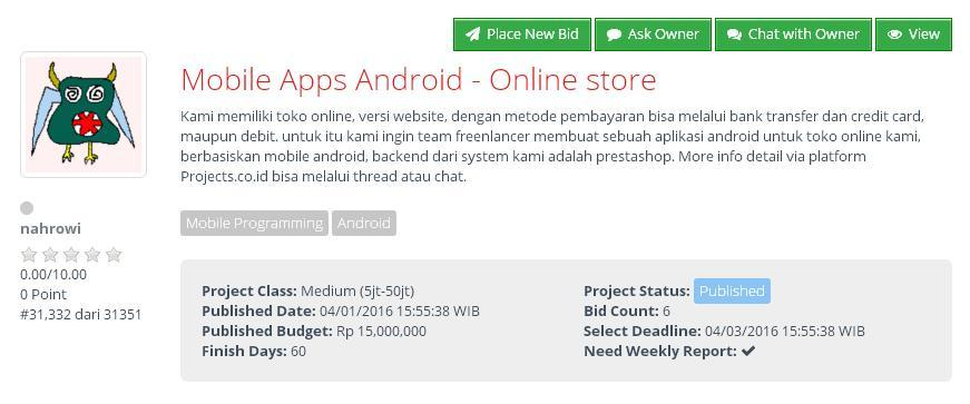 [LOWONGAN FREELANCER] Mobile Apps Android - Online store (budget Rp 15jt)
