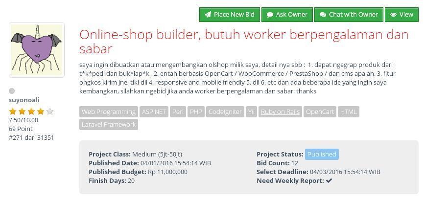 [FREELANCE] Online Shop Builder, Berpengalaman dan Sabar (budget Rp 11jt)