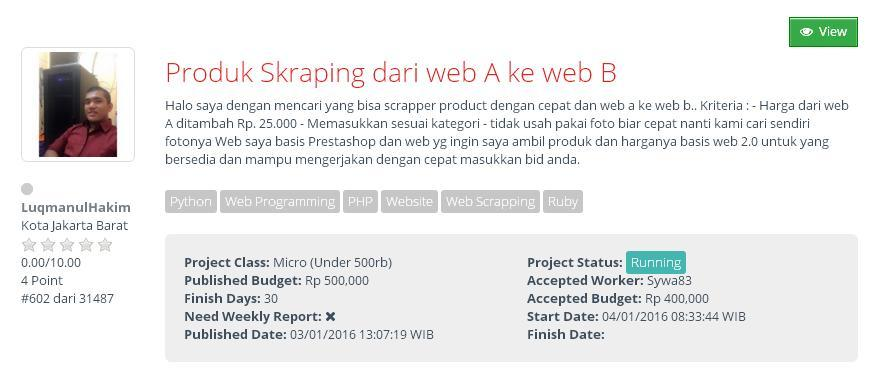 [KERJA DARI RUMAH] Produk Skraping dari web A ke web B