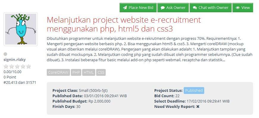 [FREELANCE] Melanjutkan project web e-recruitment dengan php, html5 dan css3