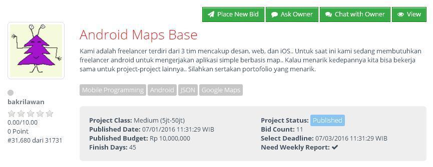 [LOWONGAN FREELANCER] Android Maps Base (budget Rp 10jt)