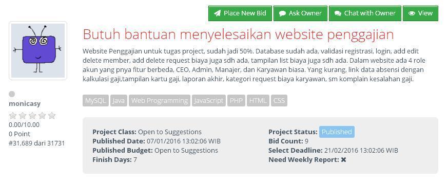 [KERJA DARI RUMAH] Butuh bantuan menyelesaikan website penggajian