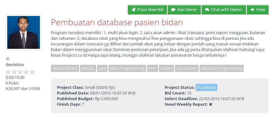 [LOWONGAN FREELANCER ] Pembuatan database pasien bidan