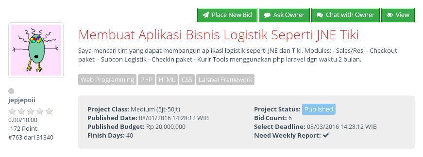 [FREELANCE] Membuat Aplikasi Bisnis Logistik Seperti JNE Tiki (budget Rp 20jt)