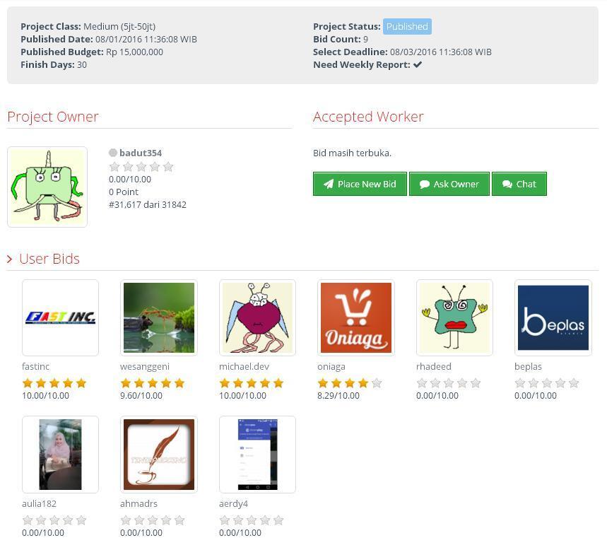 [LOWONGAN] Pembuatan Website dan Aplikasi Android Tiketing Online (budget Rp 15jt)