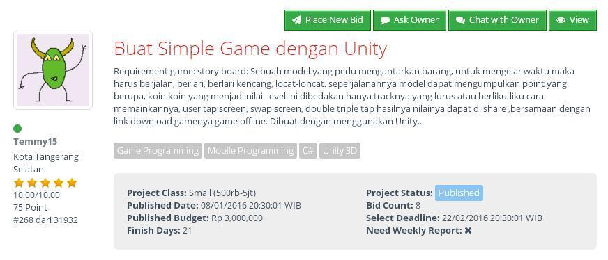 [LOWONGAN FREELANCE] Buat Simple Game dengan Unity
