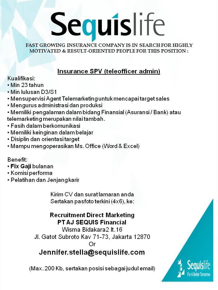 [LOKER] Insurance SPV (Telemarketing PIC Admin)
