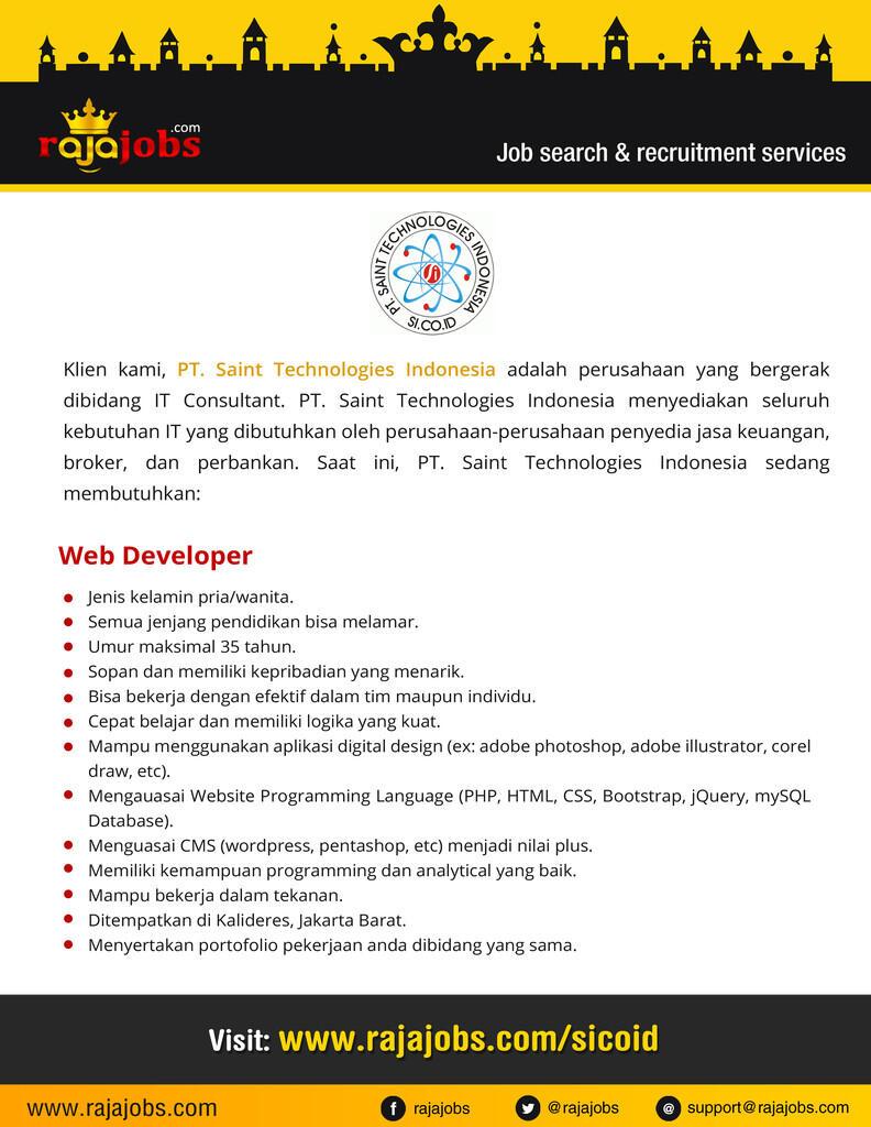 Lowongan Kerja di Pt Saints Technologies Indonesia